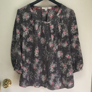 EUC Silk Grey-and-Pink Print Boden Blouse, 10